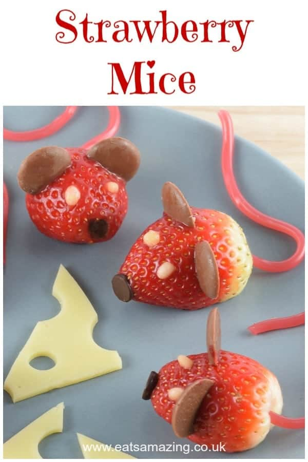 These strawberry mice make super cute healthy kids party food and would be perfect for a Nutcracker party - Click here for this fun food recipe and a video tutorial too! #funfood #kidsfood #partyfood #foodart #strawberries #nutcracker #themedfood #cutefood #mice #edibleart #foodcraft #easyrecipe #cookingwithkids #strawberry