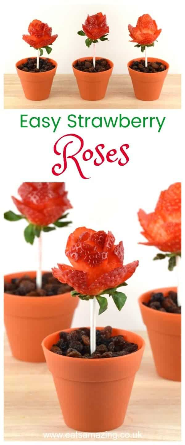 How to make strawberry roses - instructions and video tutorial from Eats Amazing UK - healthy fun food for kids #funfood #kidsfood #cutefood #edibleart #foodart #roses #redroses #strawberries #valentinesday #valentines #snacks #healthysnacks #partyfood #healthykids