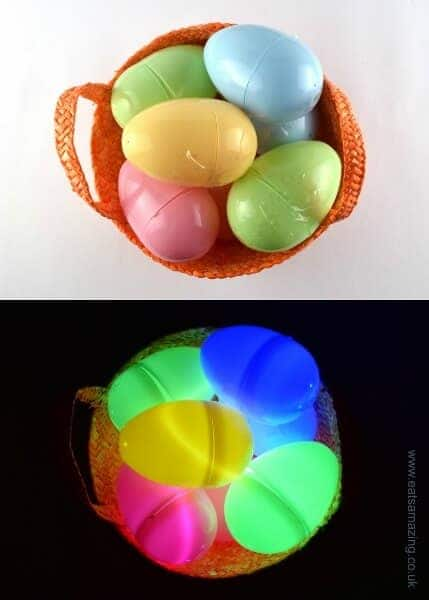 A fun glow in the dark Easter egg hunt makes a great alternative to chocolate for kids
