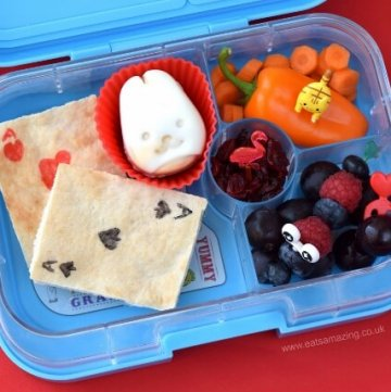 Alice in Wonderland fun book themed kids lunch idea in the Yumbox Panino from Eats Amazing UK