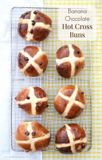 Banana Chocolate Chip Hot Cross Buns recipe - a delicious new take on the traditional hot cross bun