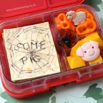 Charlottes Web bento packed lunch for kids - cute book themed lunch to celebrate World Book Day