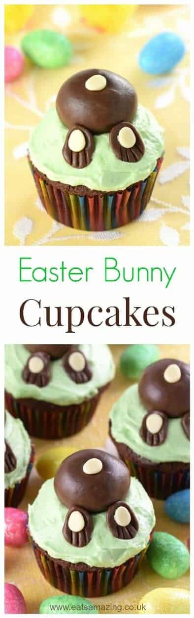 Cute and easy Easter Bunny Cupcakes recipe - these funny bunny butt cakes are really easy to make and kids love them - what a fun Easter treat #easter #easterfood #easterrecipe #easterbunny #cupcakes #eastercake #chocolatecake #cakedecorating #cutefood #funfood #kidsfood #cookingwithkids #dessert #cake