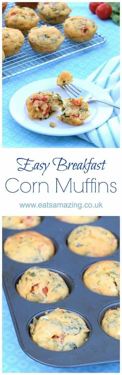 Easy Breakfast Corn Muffins recipe - a tasty healthy breakfast idea that is great for cooking with kids