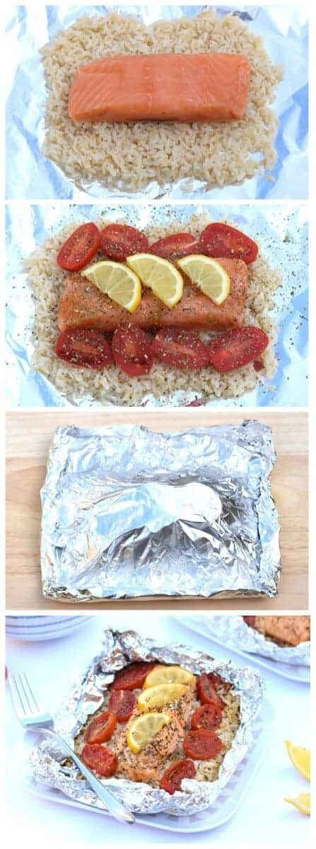 Easy Oven Baked Salmon Parcels Recipe with Lemon and Rice from Eats Amazing UK