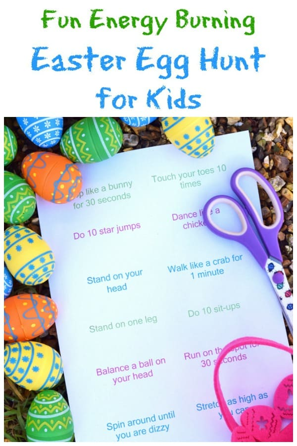 Fun Easter egg hunt idea for kids - fill eggs with energy burning excercise ideas - fun and healthy alternative to a chocolate egg hunt with free printable list #EatsAmazing #egghunt #easteregghunt #easterfun #easter #easterbunny #easterwithkids #easterkids #healthykids #kidsactivities #treasurehunt #kidsparty #kidsfun #getoutside
