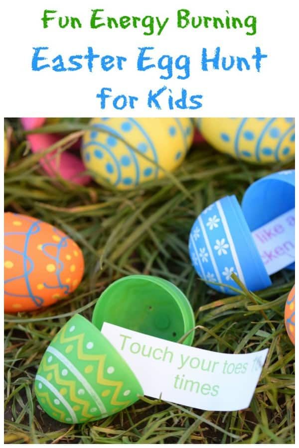 Fun Easter egg hunt idea for kids with FREE Printable list - fill eggs with energy burning excercise ideas - fun and healthy Easter activity for kids #EatsAmazing #egghunt #easteregghunt #easterfun #easter #easterbunny #easterwithkids #easterkids #healthykids #kidsactivities #treasurehunt #kidsparty #kidsfun #getoutside