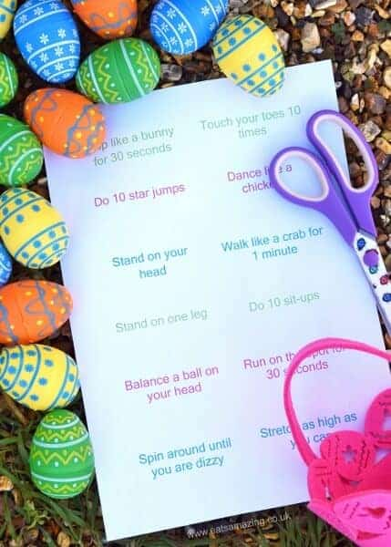 Fun Energy Burning Easter Egg Hunt idea for kids with a free printable list of excercises - great alternative to chocolate