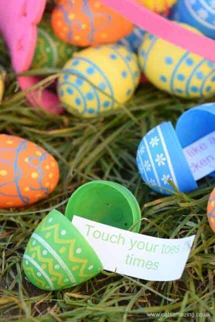 Fun Exercise Easter Egg Hunt for Kids - fill the eggs with mini challenges and let them burn off all that chocolate