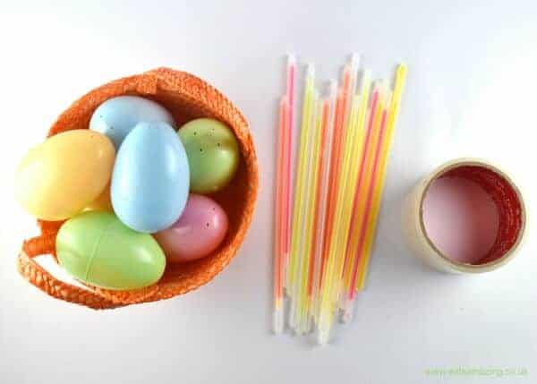 How to make a glow in the dark Easter egg hunt for kids - great alternative to chocolate
