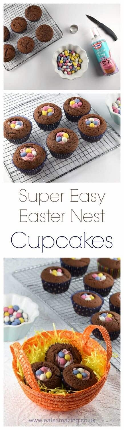 Quick and easy Easter nest cupcakes recipe - a fun dessert for Easter that takes no time at all - Eats Amazing UK #easter #easterfood #easterrecipe #cupcakes #chocolatecake #nest #eastereggs #easyrecipe #cookingwithkids #funfood #kidsfood