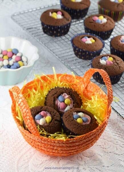 Really quick and easy Easter nest cupcakes recipe - a fun dessert for Easter that takes no time at all - Eats Amazing UK