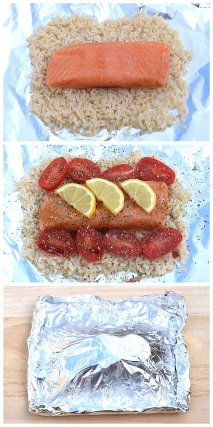 Simple Salmon Parcels recipe with rice and lemon from Eats Amazing UK