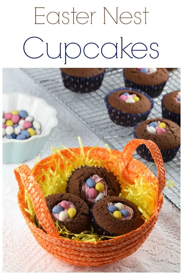 These easy Easter nest cupcakes recipe are perfect for a quick Easter dessert - fun Easter cupcakes for kids #EatsAmazing #easter #easterfood #easterrecipe #cupcakes #chocolatecake #nest #eastereggs #easyrecipe #cookingwithkids #funfood #kidsfood