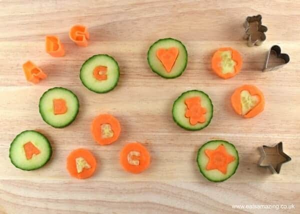 Carrot and cucumber coins - a fun food idea to help kids eat more vegetables from Eats Amazing UK
