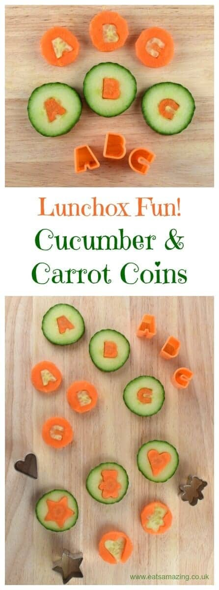 Carrot and cucumber coins - a fun kids food idea that makes a great healthy snack - perfect for lunch boxes too