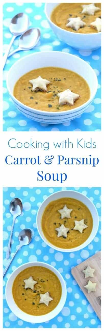 Really easy carrot and parsnip soup recipe - part of a series of easy recipes for kids with free printable child friendly recipe sheets