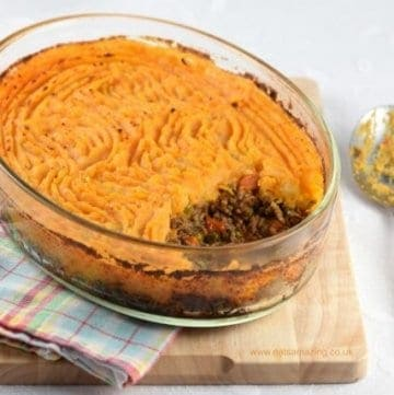 Shepherds Pie with Sweet Potato recipe - a healthier version of a favourite family meal from Eats Amazing UK