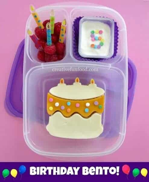 Birthday Bento with Birthday Cake Sandwich from Creative Food