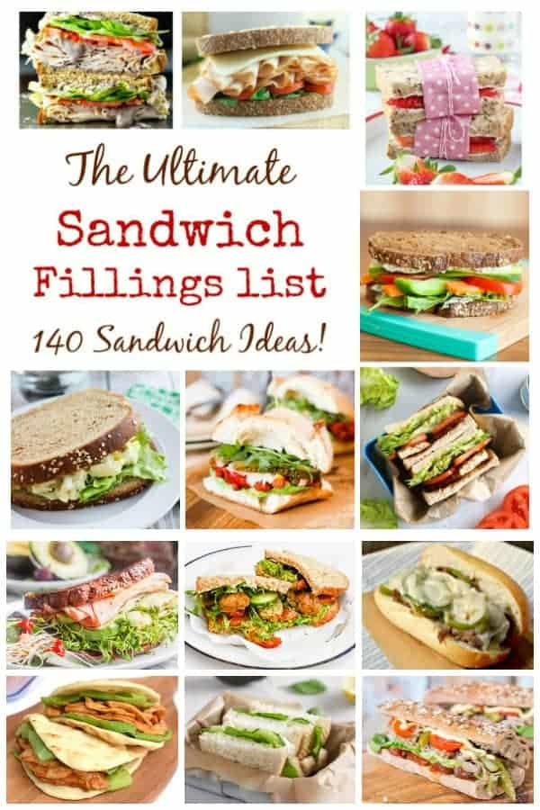 Click here for over 140 sandwich filling ideas for packed lunches - sandwiches will never be boring again! #sandwich #sandwiches #lunchbox #lunchideas #lunchboxideas #lunch #food #recipes #lunchtime #backtoschool