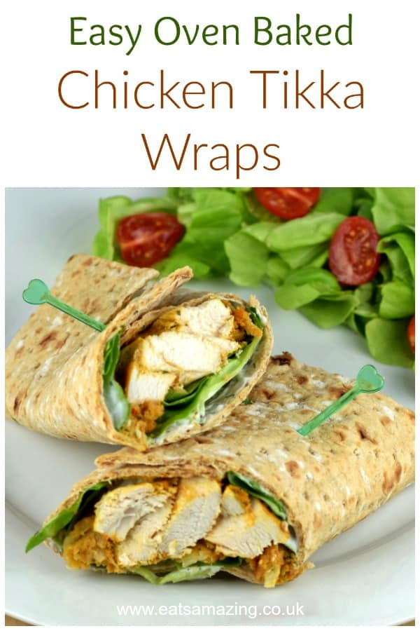 Delicious chicken tikka wraps recipe with quick and easy homemade oven baked chicken tikka - fab lunch box idea for adults or kids #EatsAmazing #lunchideas #lunchboxideas #familyfood #chicken #chickentikka #tortilla #wrap #easyrecipe #healthyfood #lunchrecipes #lunch #lunchtime