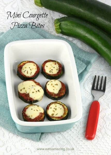 Delicious courgette or zucchini pizza bites - these make a tasty gluten free snack for kids and adults too - with free child friendly printable recipe sheet