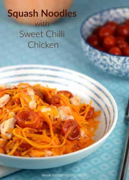 Easy spiralized butternut squash noodles with sweet chilli chicken - quick and easy healthy recipe from Eats Amazing UK