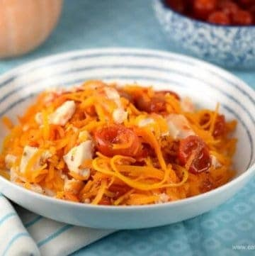Easy spiralized butternut squash noodles with sweet chilli chicken - really quick and easy healthy recipe