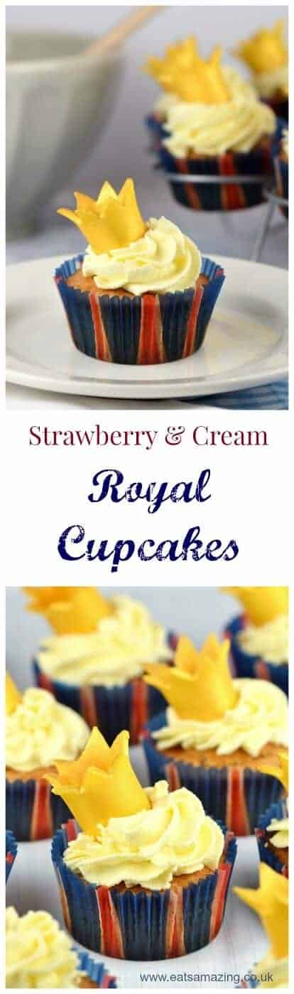 Gorgeous strawberries and cream cupcakes with easy fondant crowns to decorate - perfect for a British street party this summer!