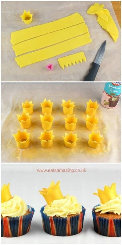 How to make fondant crowns for cupcakes - cute and easy cake decorations for a party
