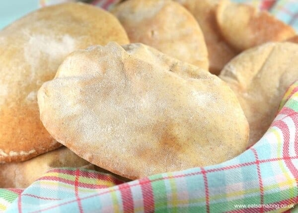How to make your own pitta bread - full instructions and recipe for pitta bread made with Spelt and white flour from Eats Amazing UK
