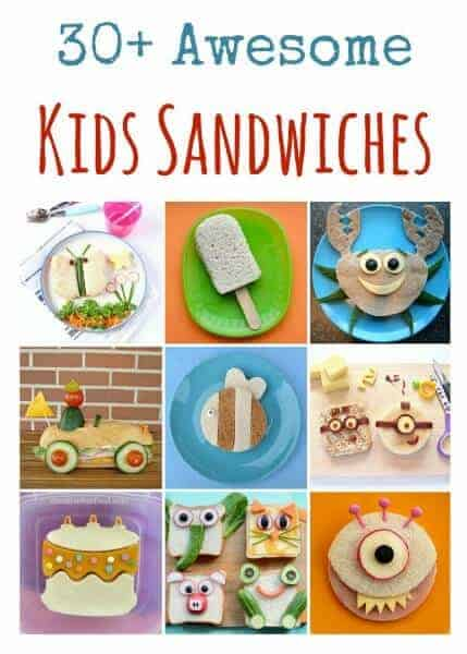 Over 30 cute and fun sandwiches for kids - great sandwich ideas for lunch boxes and party food too