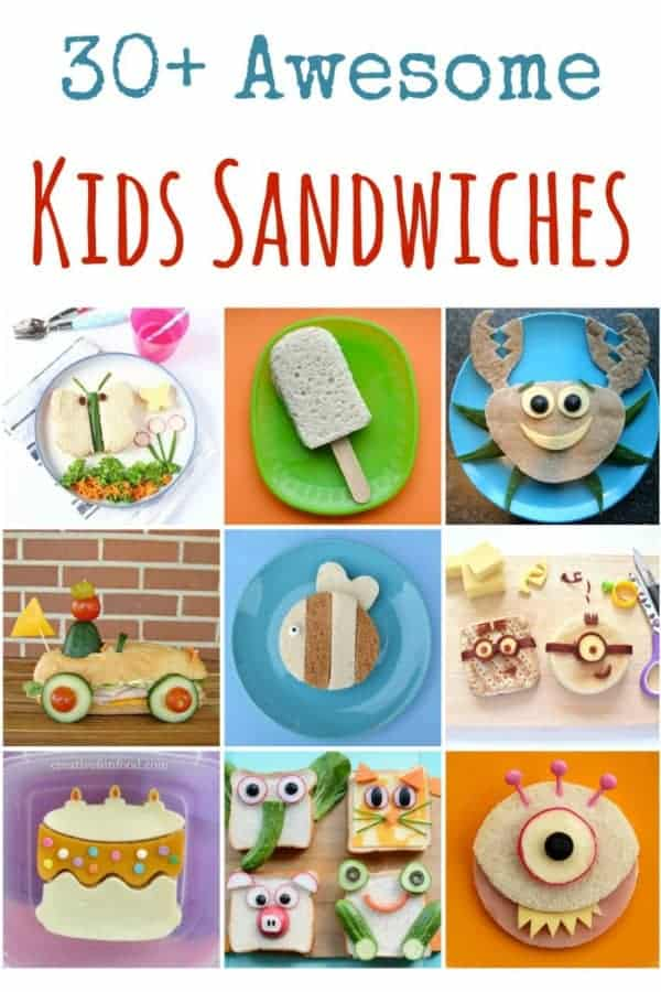 Over 30 fun sandwiches for kids - these cute sandwich ideas are perfect for healthy lunch boxes, party food, kids tea parties and fun snacks at home! #sandwiches #funfood #kidsfood #foodart #lunchideas #schoollunch #bento #packedlunch #partyfood #teaparty #picnic #edibleart
