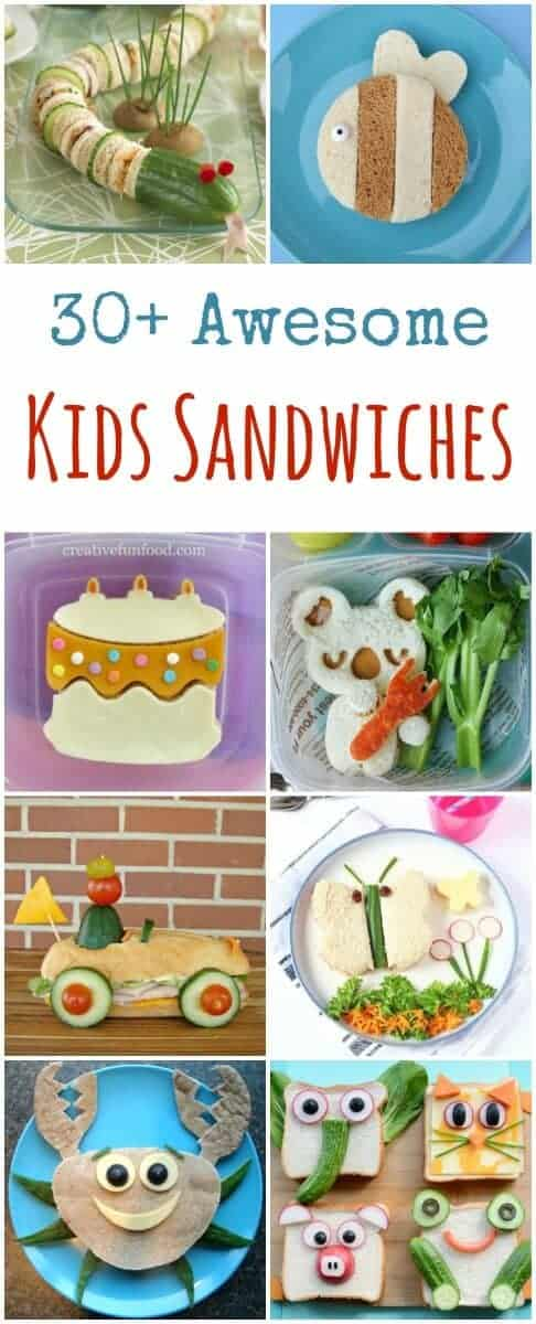 Over 30 fun sandwiches for kids - these cute sandwich ideas are perfect for lunch boxes and party food too - Eats Amazing UK #sandwiches #edibleart #funfood #kidsfood #foodart #lunchideas #schoollunch #bento #packedlunch #partyfood