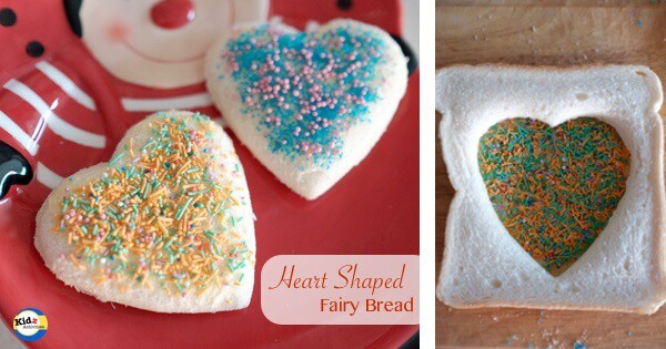 Pretty Heart Shaped Fairy Bread for kids from Kidz Activities - fun lunch box treat