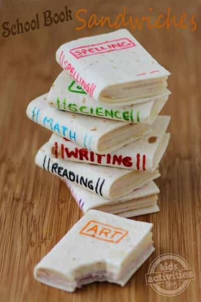 So clever - school book sandwiches from Kids Activities Blog - brilliant back to school lunch idea