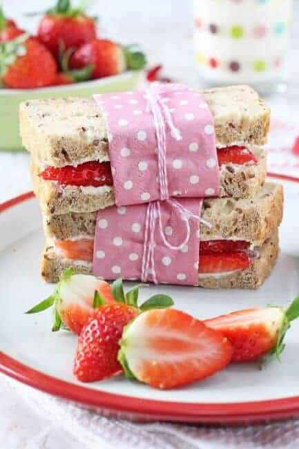 Strawberry Cream Cheese Sandwiches for Kids from My Fussy Eater