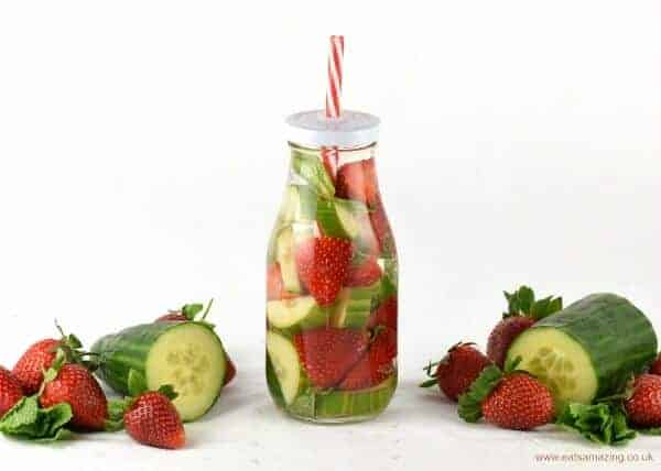 Strawberry Cucumber and Mint Infused Water for Kids - a fun way to convince kids to drink enough water and stay hydrated this summer - recipe from Eats Amazing