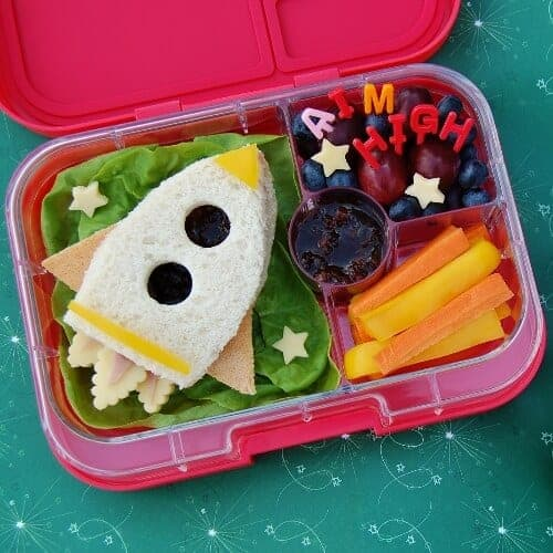 Super cute rocket themed lunch - a special lunch for kids for the first day back to school