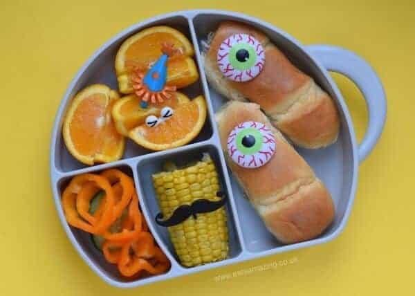 Fun and easy monster bento lunch idea for kids - made using eyeball cupcake rings from Eats Amazing UK