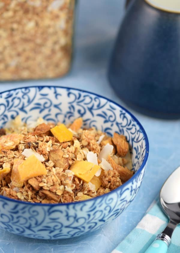 Healthy homemade granola recipe for kids - this Mango Pina Colada granola is perfect for an easy breakfast