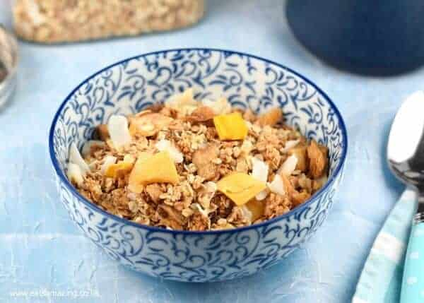 Mango Pina Colada healthy granola recipe - a delicious breakfast recipe for kids full of yummy tropical fruits - Eats Amazing UK