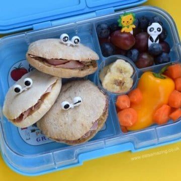 Super cute monster pitta breads from Eats Amazing UK - easy and fun kids packed lunch idea in the Yumbox bento box