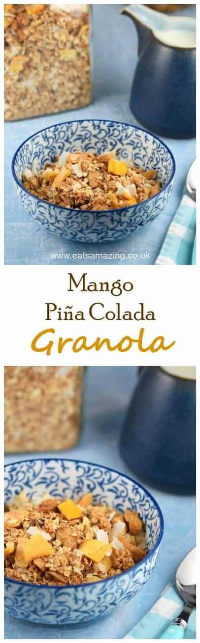 This Mango Pina Colada healthy granola recipe is stuffed full of yummy tropical fruits - a delicious breakfast idea the whole family will love