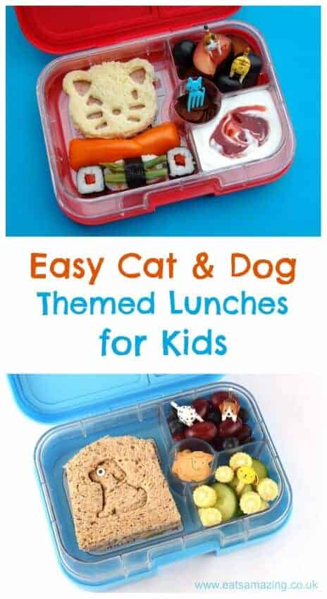 3 Easy ideas for cute lunches for kids with a fun cat or dog theme - Eats Amazing UK