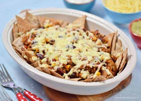 Absolutely delicious healthy chilli beef nachos with tons of hidden veg - with homemade tortilla crisps recipe too - Eats Amazing UK