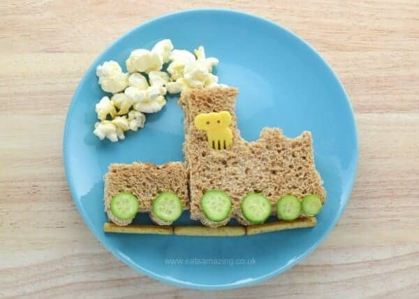 Cute train sandwich made using a Lunch Punch sandwich cutter and Organix healthy toddler snacks