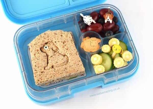 Easy dog themed packed lunch idea for kids from Eats Amazing UK - packed in the Yumbox Panino bento box