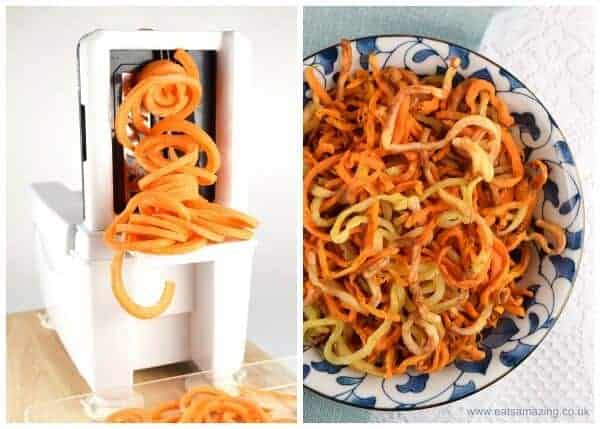 How to make easy healthy and totally delicious spiralized curly fries recipe from Eats Amazing UK