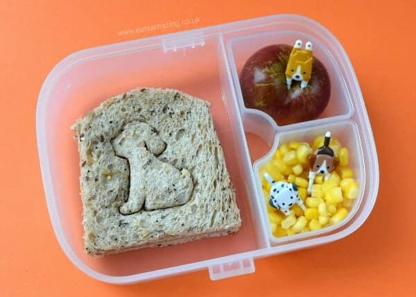 Really easy dog themed packed lunch idea for kids from Eats Amazing UK - packed in the Munchkin bento box